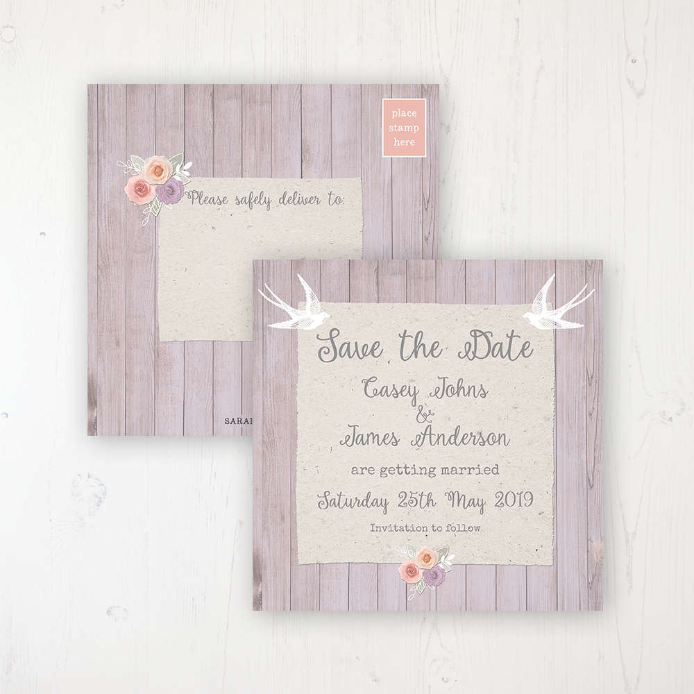 Vintage Birdcage Wedding Save the Date Postcard Personalised Front & Back