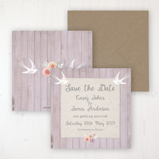 Vintage Birdcage Wedding Save the Date Personalised Front & Back with Rustic Envelope