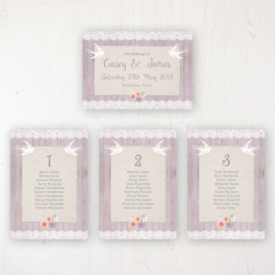 Vintage Birdcage Wedding Table Plan Cards Personalised with Table Names and Guest Names