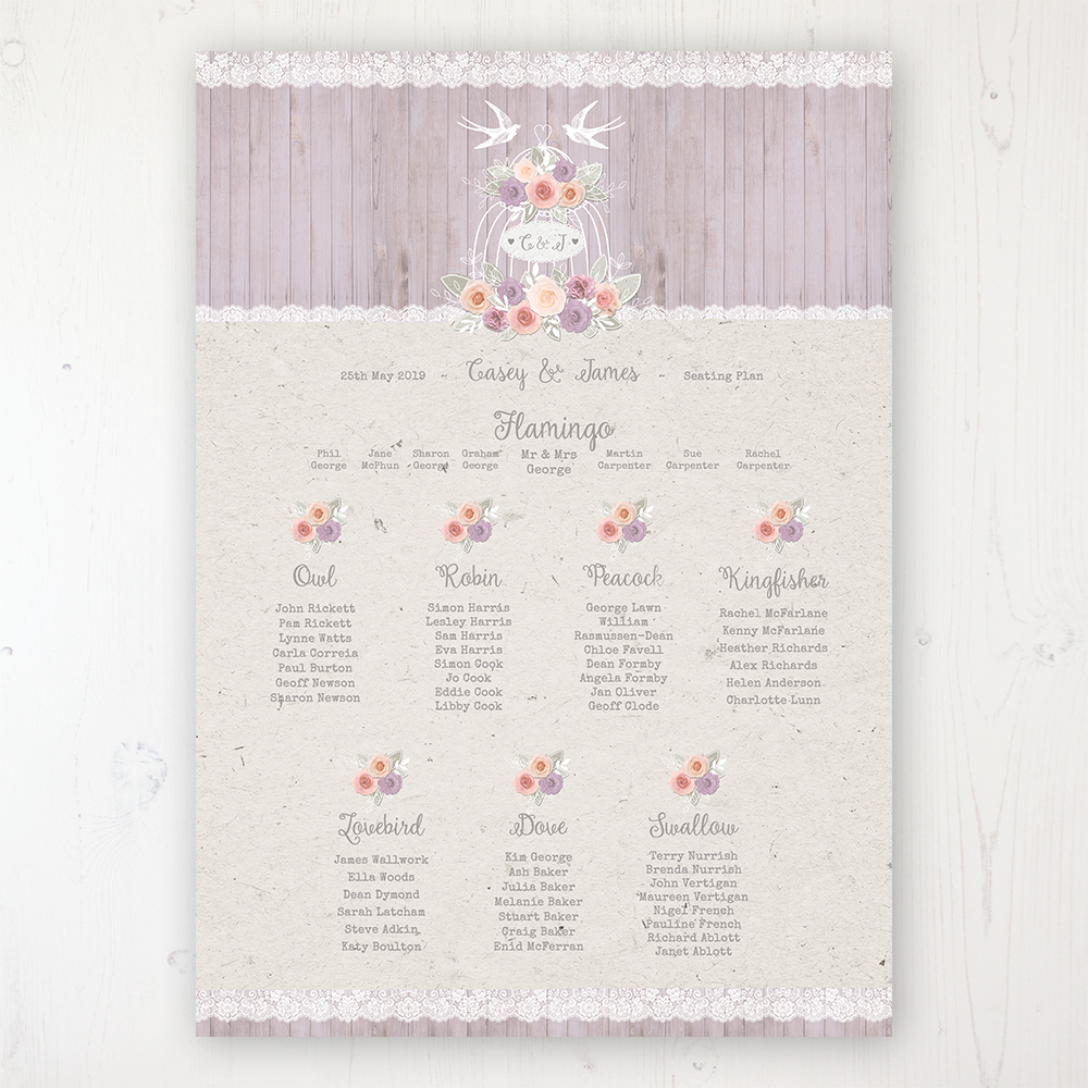 Vintage Birdcage Wedding Table Plan Poster Personalised with Table and Guest Names