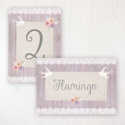Vintage Birdcage Wedding Table Name & Number Personalised Table Name Card and Number Card