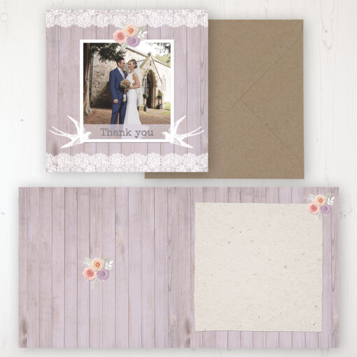 Vintage Birdcage Wedding Thank You Card - Folded Personalised with a Message & Photo