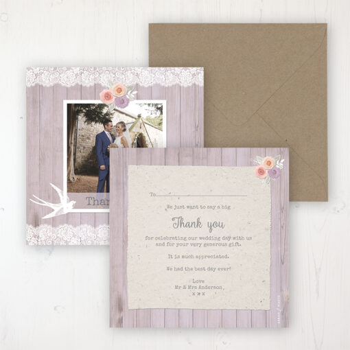 Vintage Birdcage Wedding Thank You Card - Flat Personalised with a Message & Photo