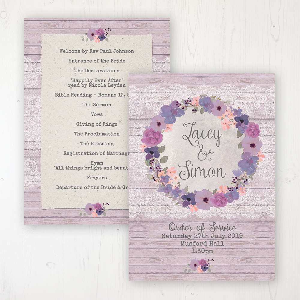 Wisteria Garden Wedding Order of Service - Card Personalised front and back