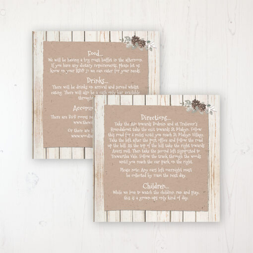 Wild Woodland Wedding Info Insert Card Personalised Front & Back