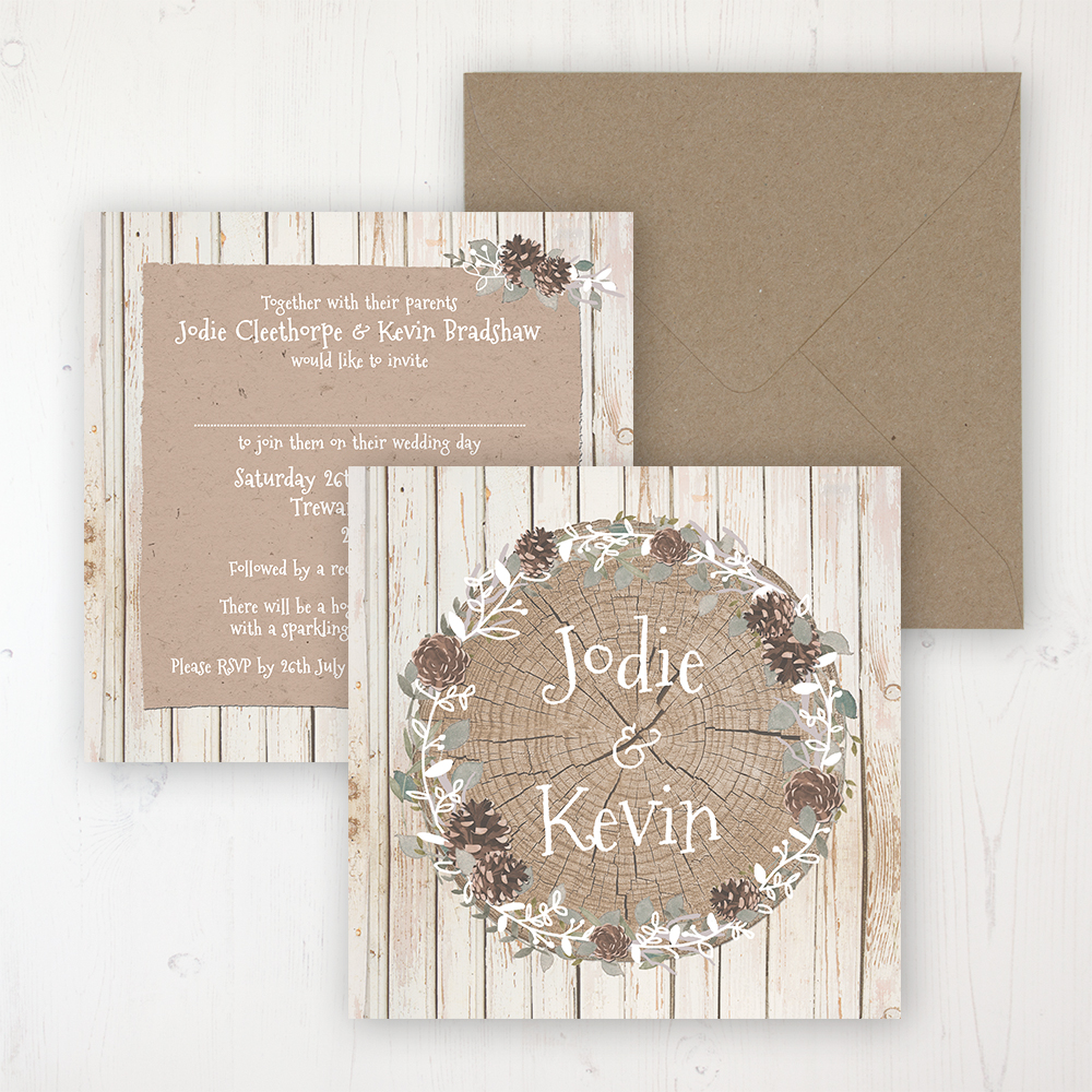 Wild Woodland Wedding Invitation - Flat Personalised Front & Back with Rustic Envelope