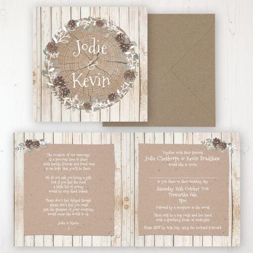 Wild Woodland Wedding Invitation - Folded Personalised Front & Back with Rustic Envelope