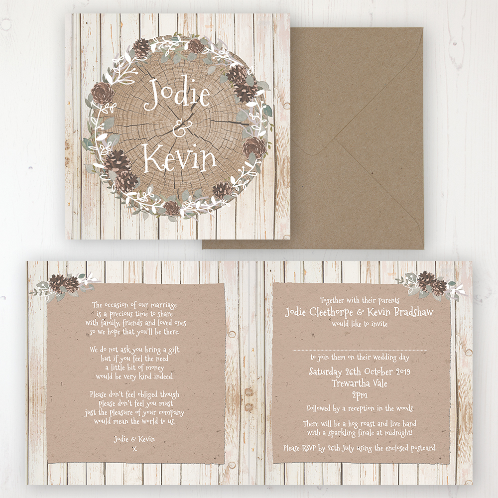 Wild Woodland Wedding Invitation - Folded Personalised Front & Back with Rustic Envelope