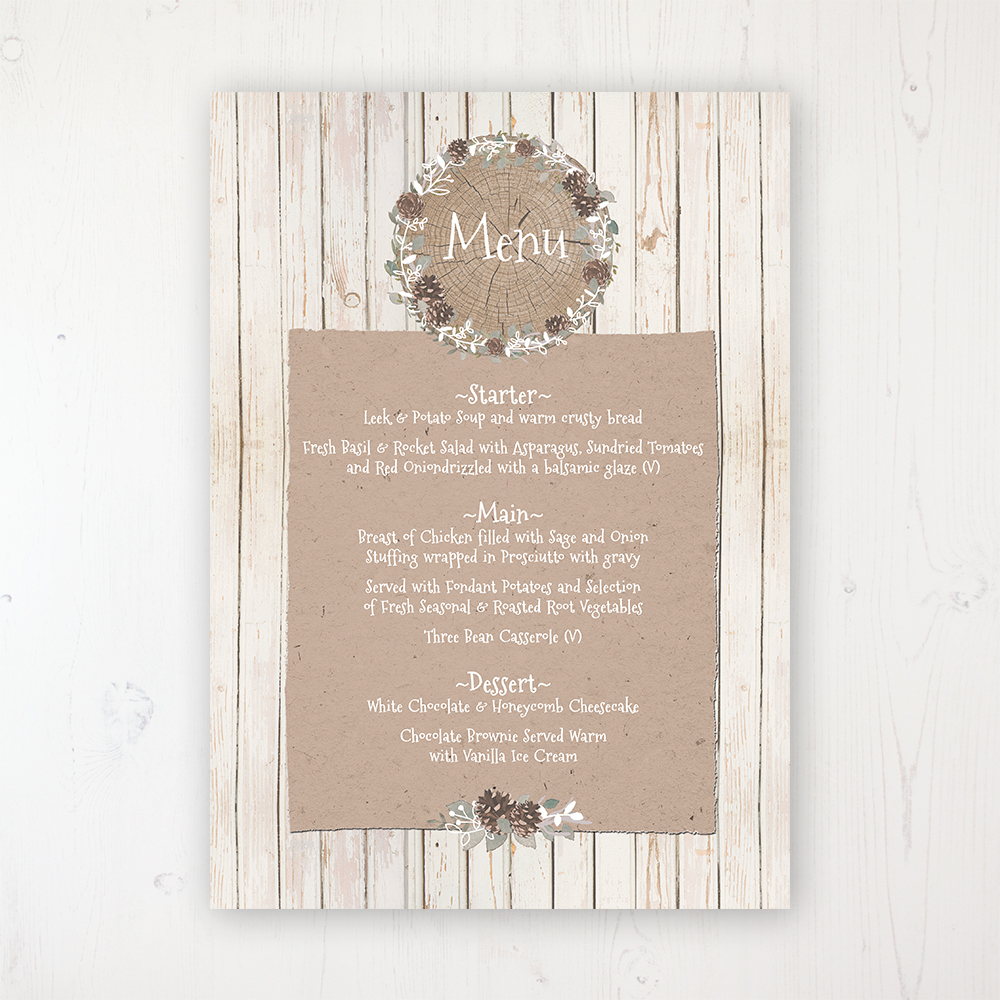 Wild Woodland Wedding Menu Card Personalised to display on tables
