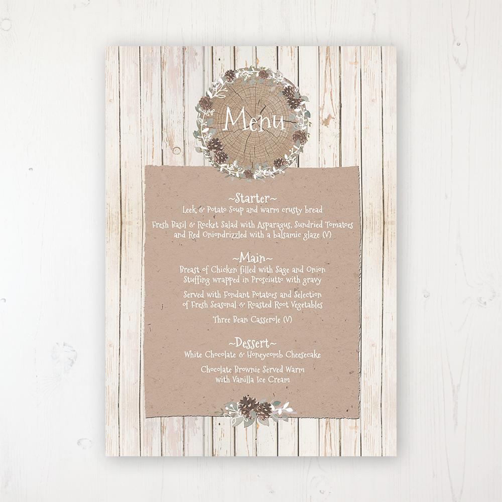Wild Woodland Wedding Menu Card Personalised to display on tables
