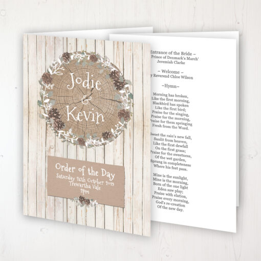 Wild Woodland Wedding Order of Service - Booklet Personalised Front & Inside Pages