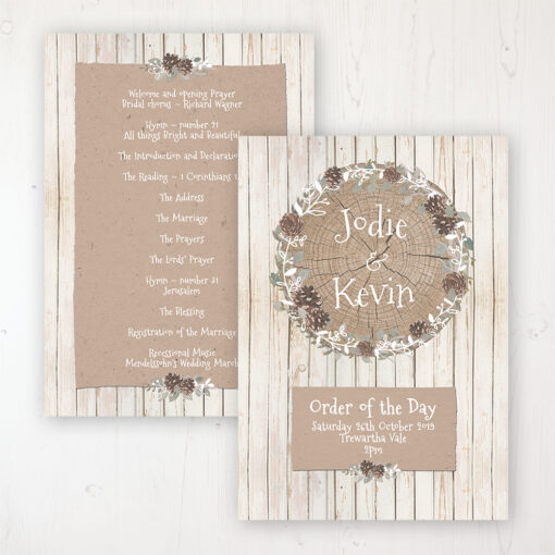 Wild Woodland Wedding Order of Service - Card Personalised front and back
