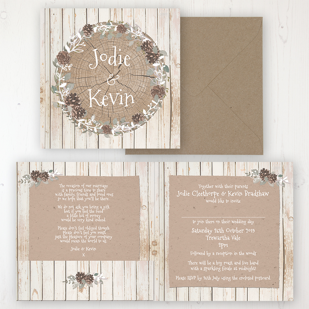 Wild Woodland Wedding Invitation - Folded Personalised Front & Back with Pocket in inside cover. Includes Rustic Envelope