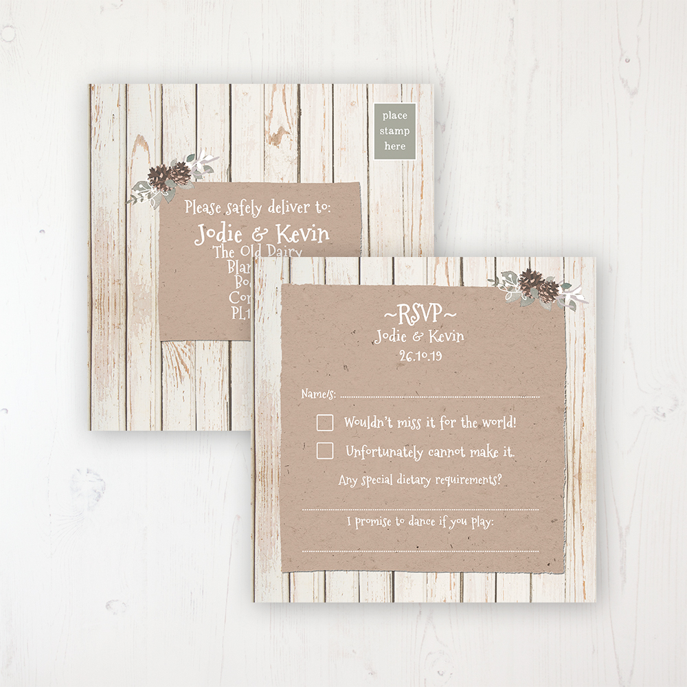 Wild Woodland Wedding RSVP Postcard Personalised Front & Back