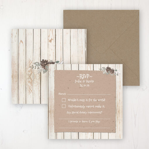 Wild Woodland Wedding RSVP Personalised Front & Back with Rustic Envelope