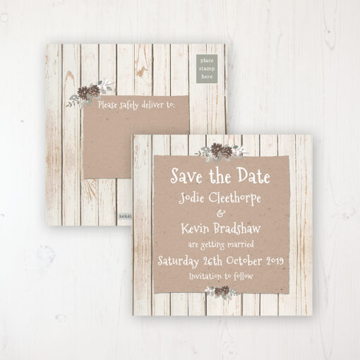 Wild Woodland Wedding Save the Date Postcard Personalised Front & Back