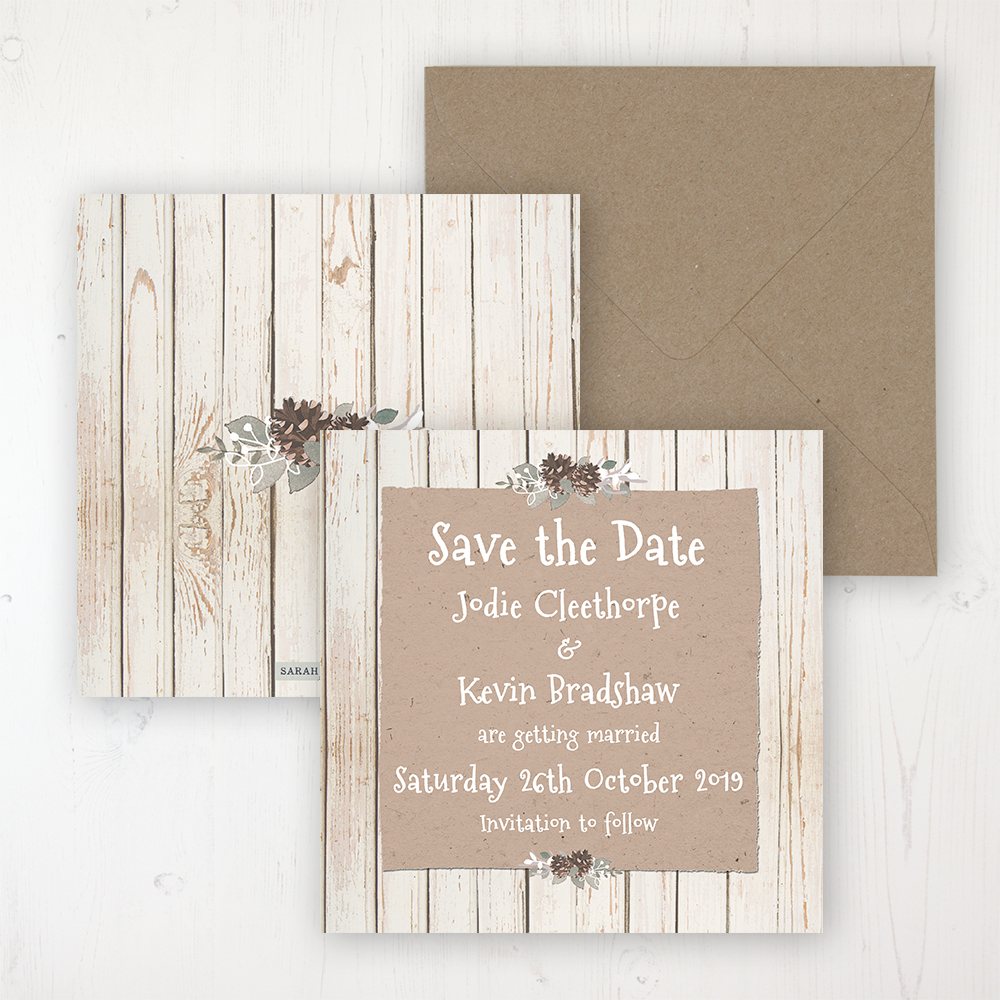Wild Woodland Wedding Save the Date Personalised Front & Back with Rustic Envelope