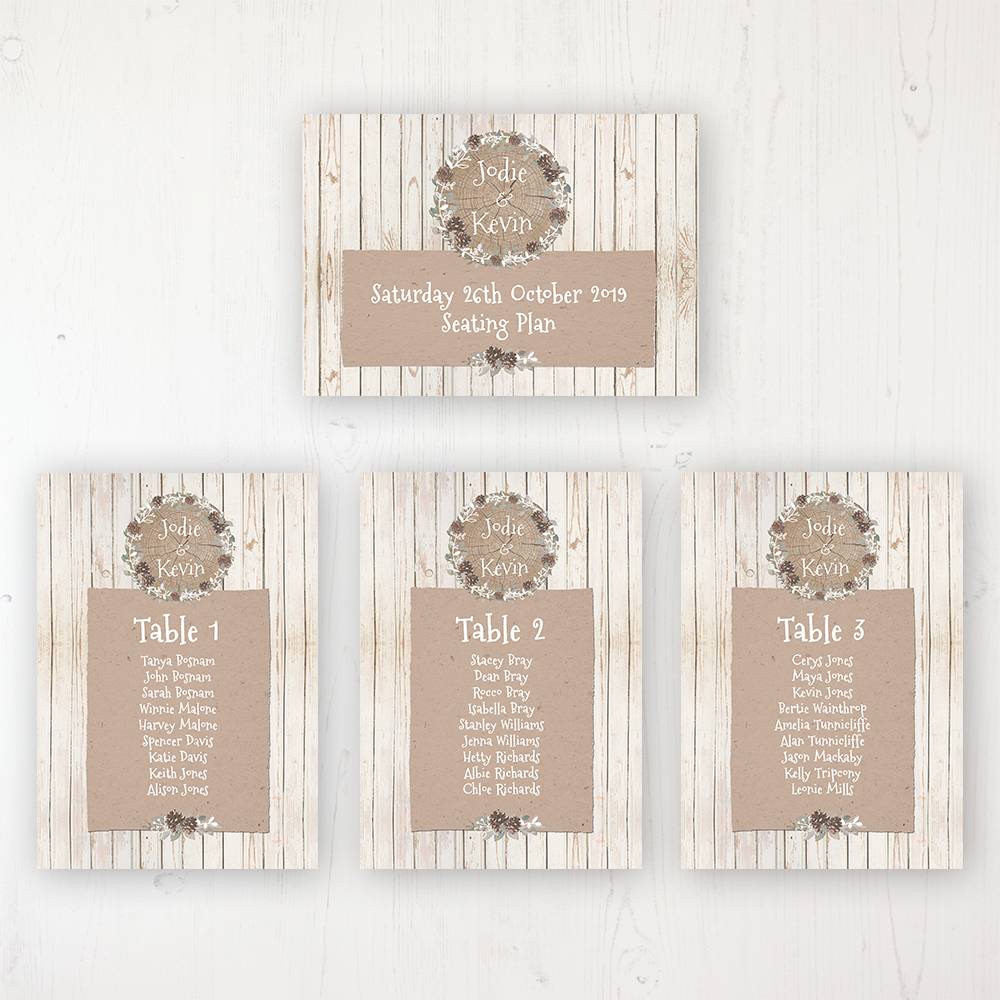 Wild Woodland Wedding Table Plan Cards Personalised with Table Names and Guest Names
