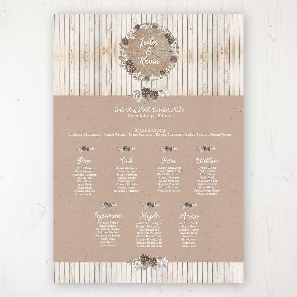 Wild Woodland Wedding Table Plan Poster Personalised with Table and Guest Names