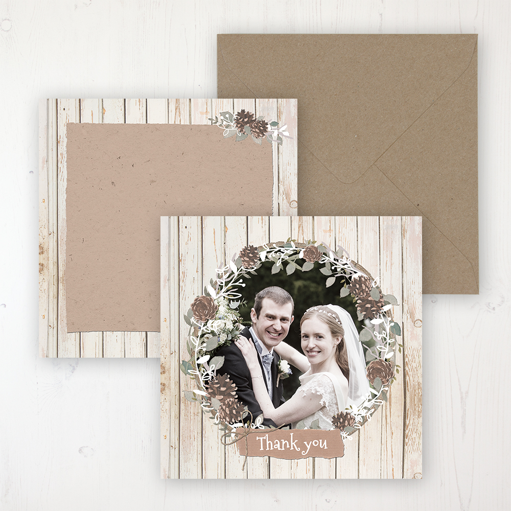 Wild Woodland Wedding with a photo and with space to write own message