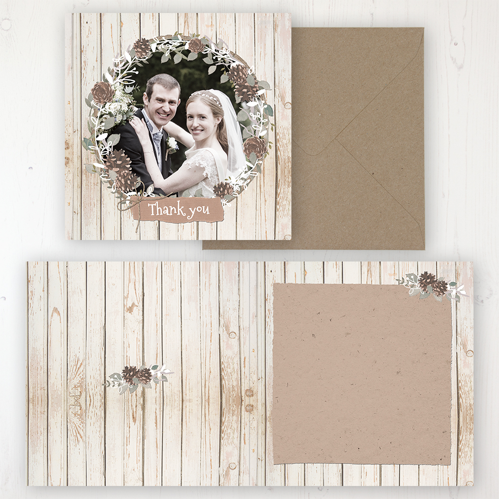 Wild Woodland Wedding Thank You Card - Folded Personalised with a Message & Photo