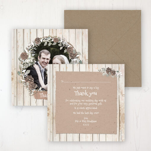 Wild Woodland Wedding Thank You Card - Flat Personalised with a Message & Photo
