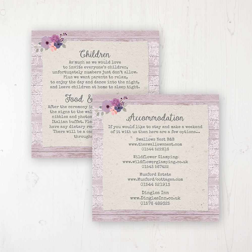 Wisteria Garden Wedding Info Insert Card Personalised Front & Back