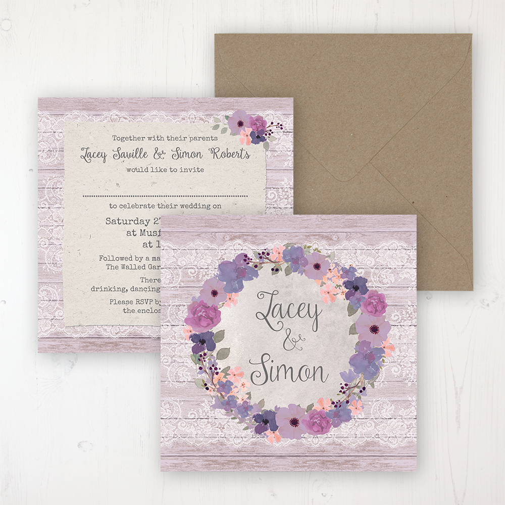 Wisteria Garden Wedding Invitation - Flat Personalised Front & Back with Rustic Envelope