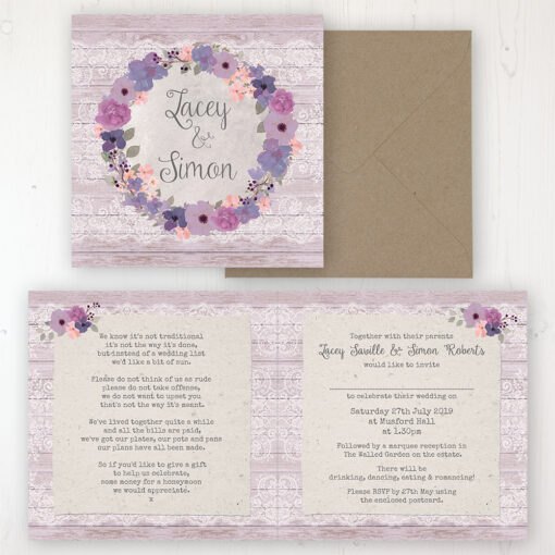 Wisteria Garden Wedding Invitation - Folded Personalised Front & Back with Rustic Envelope
