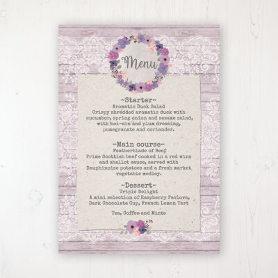 Wisteria Garden Wedding Menu Card Personalised to display on tables