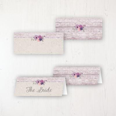 Wisteria Garden Wedding Place Name Cards Blank and Personalised with Flat or Folded Option