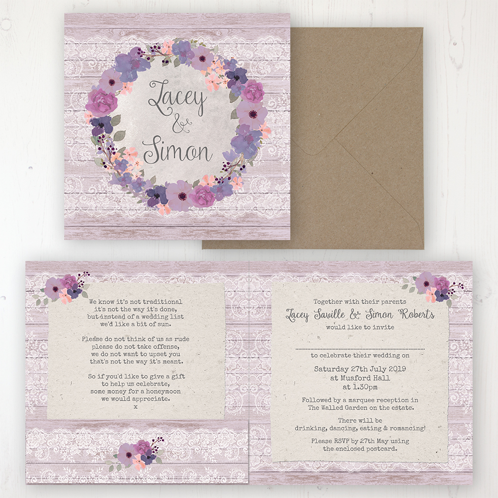 Wisteria Garden Wedding Invitation - Folded Personalised Front & Back with Pocket in inside cover. Includes Rustic Envelope