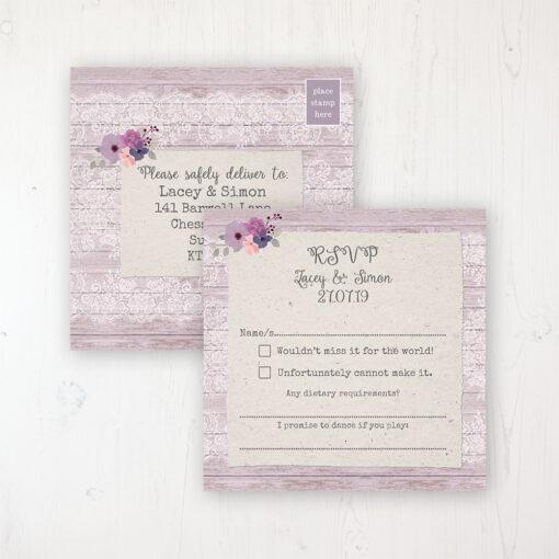 Wisteria Garden Wedding RSVP Postcard Personalised Front & Back