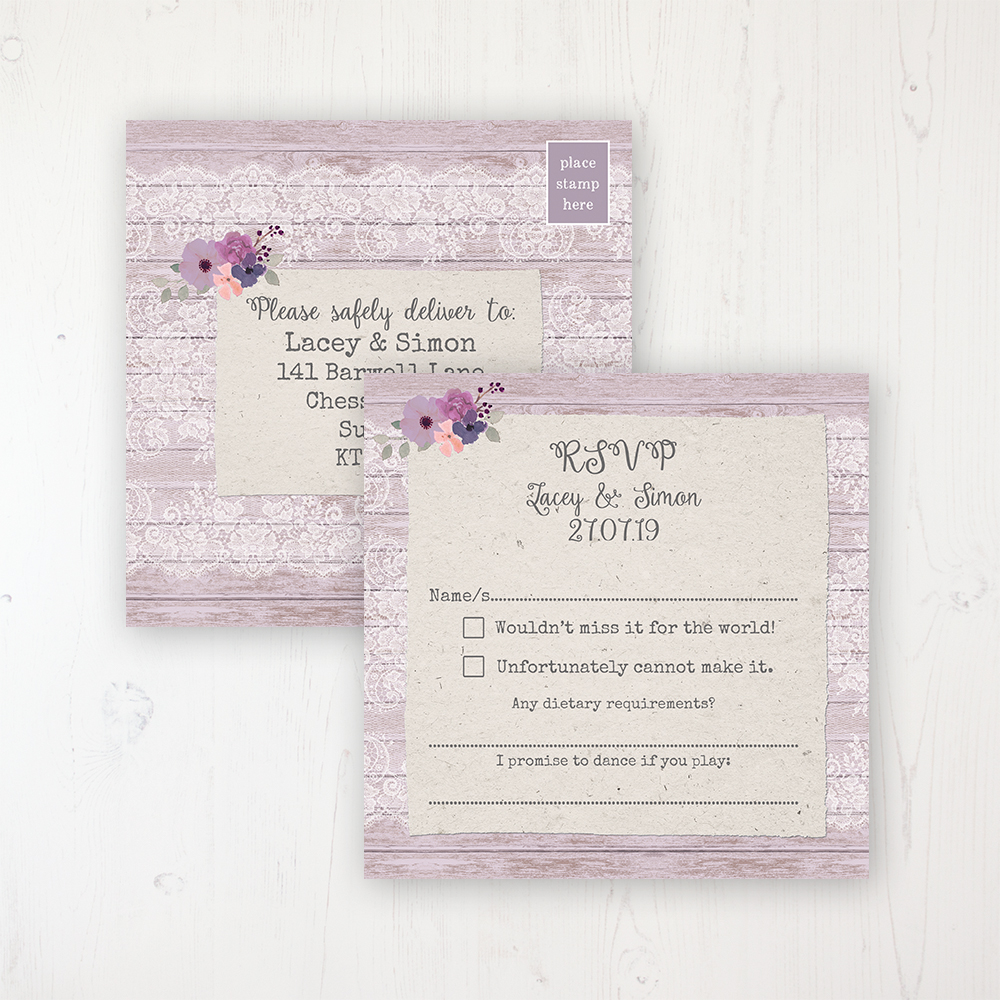 Wisteria Garden Wedding RSVP Postcard Personalised Front & Back