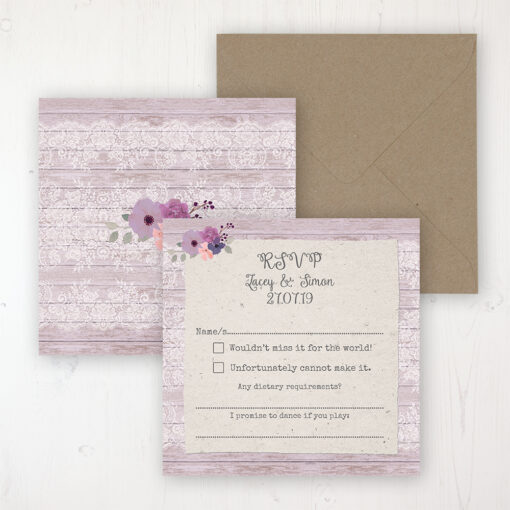 Wisteria Garden Wedding RSVP Personalised Front & Back with Rustic Envelope