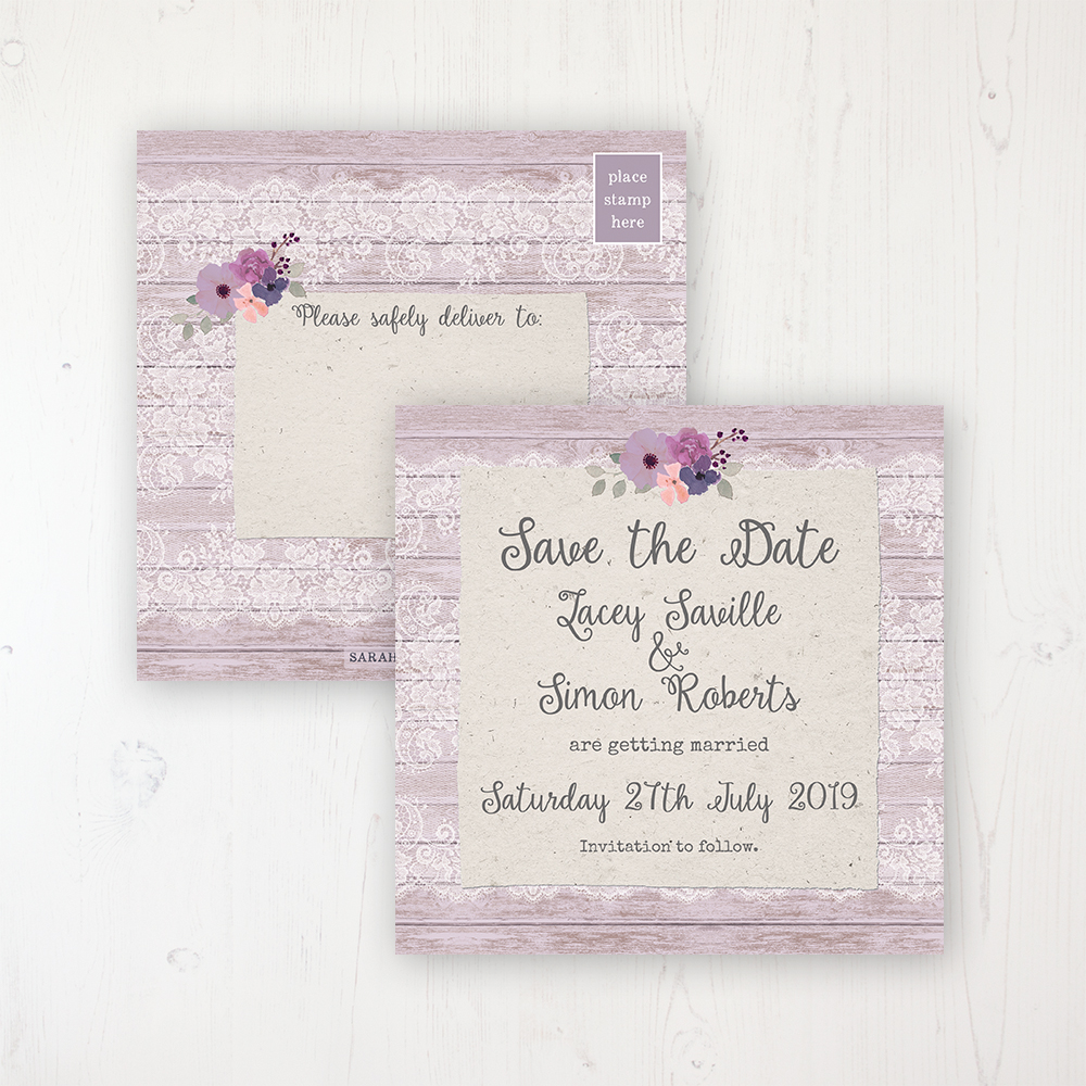 Wisteria Garden Wedding Save the Date Postcard Personalised Front & Back