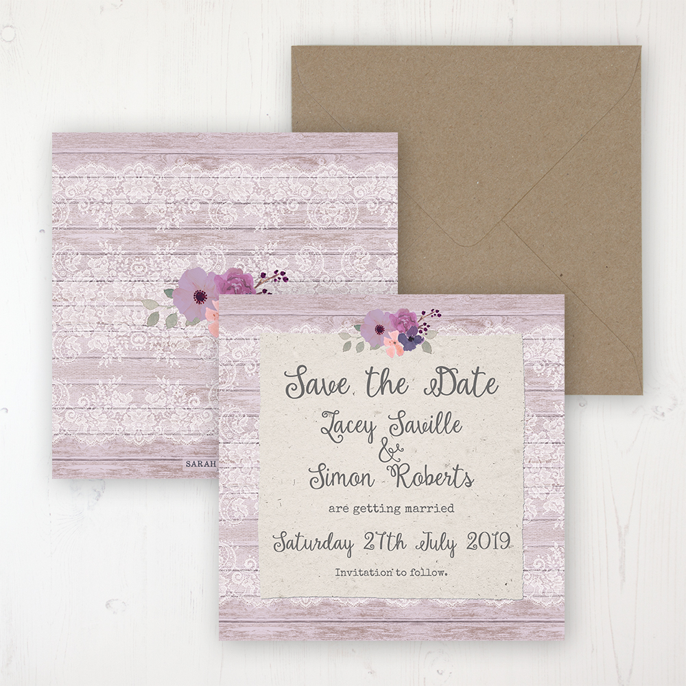 Wisteria Garden Wedding Save the Date Personalised Front & Back with Rustic Envelope