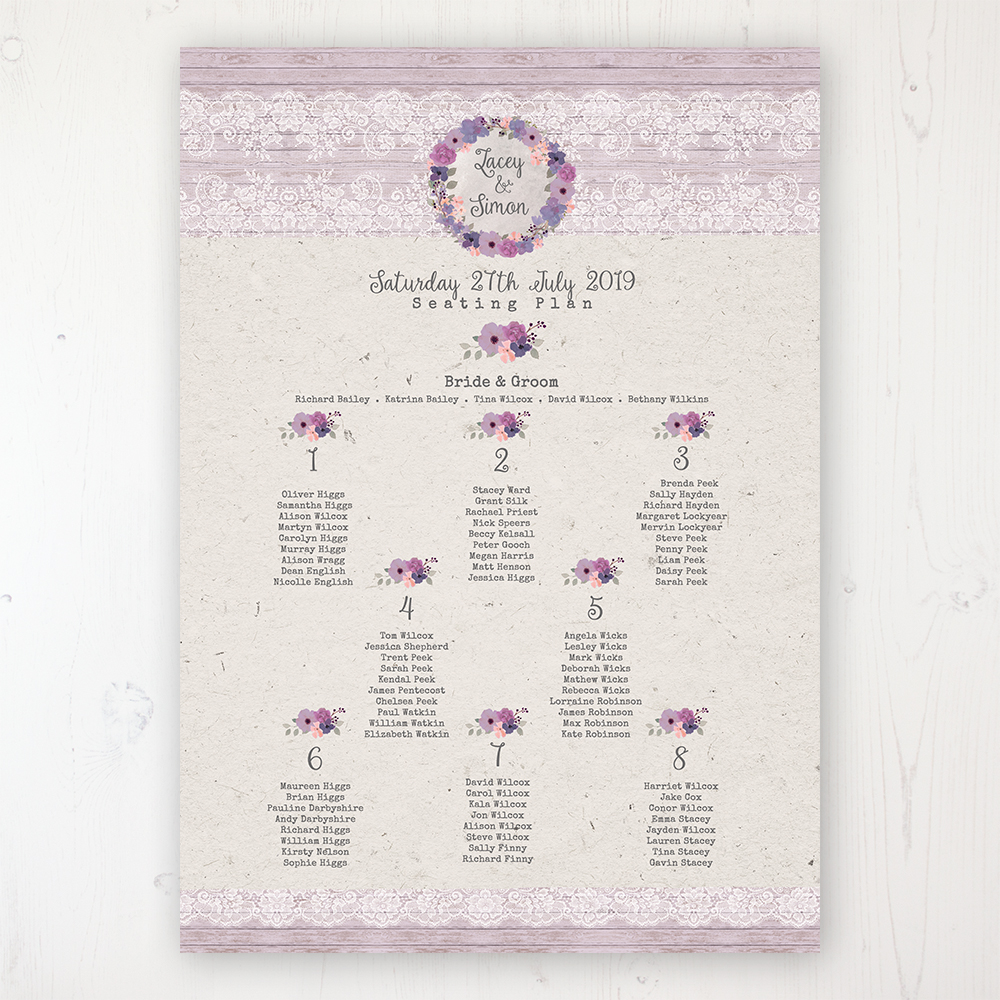 Wisteria Garden Wedding Table Plan Poster Personalised with Table and Guest Names