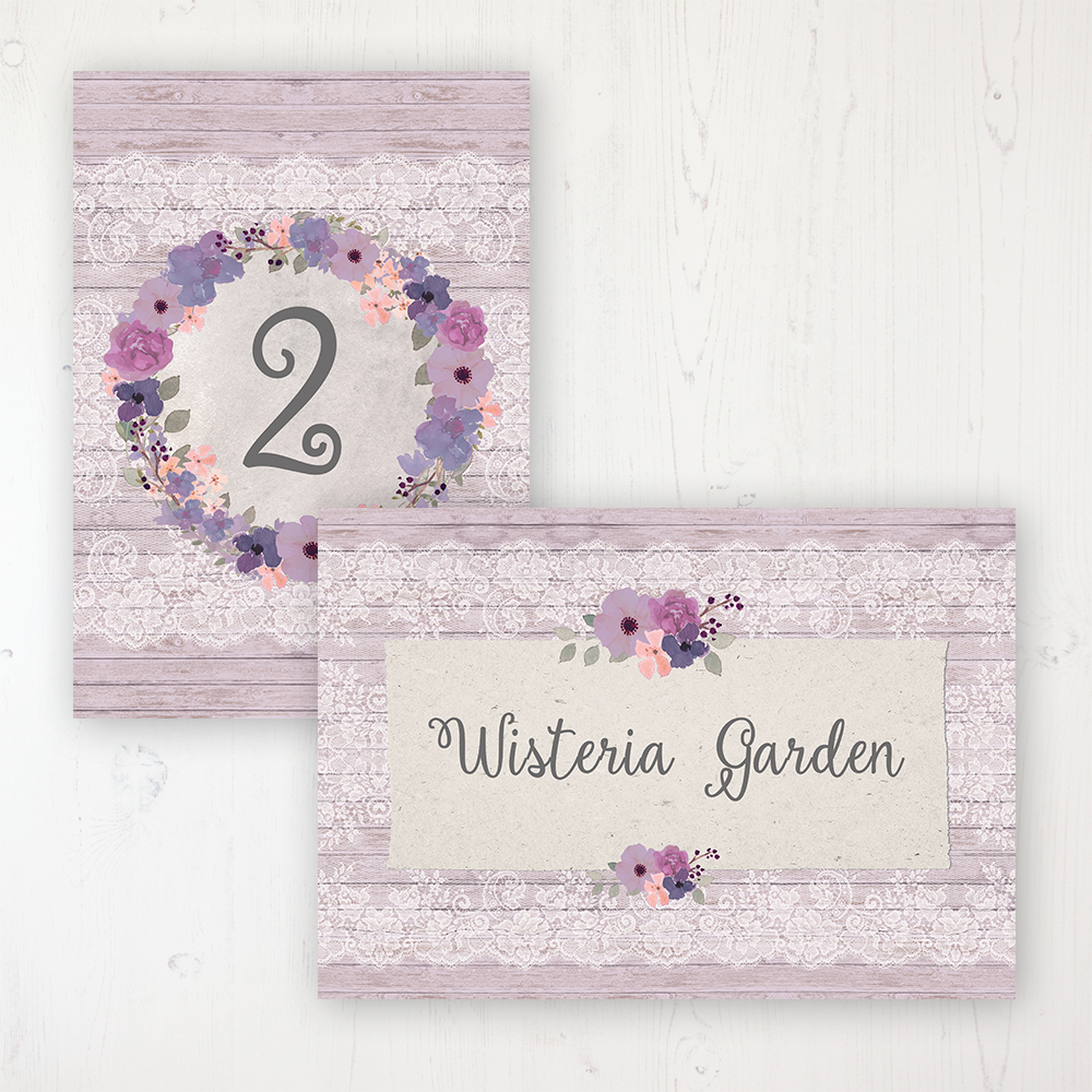 Wisteria Garden Wedding Table Name & Number Personalised Table Name Card and Number Card