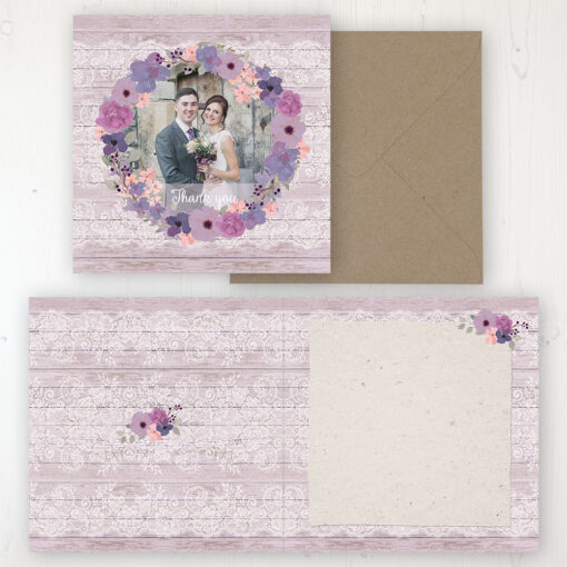 Wisteria Garden Wedding Thank You Card - Folded Personalised with a Message & Photo