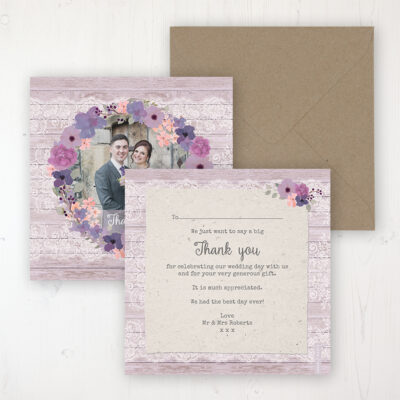 Wisteria Garden Wedding Thank You Card - Flat Personalised with a Message & Photo