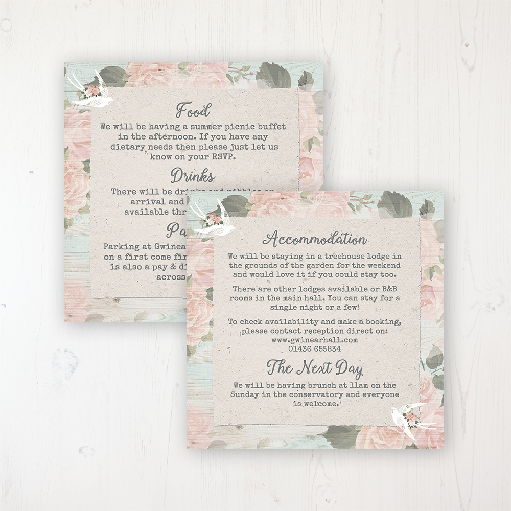 Dancing Swallows Wedding Info Insert Card Personalised Front & Back