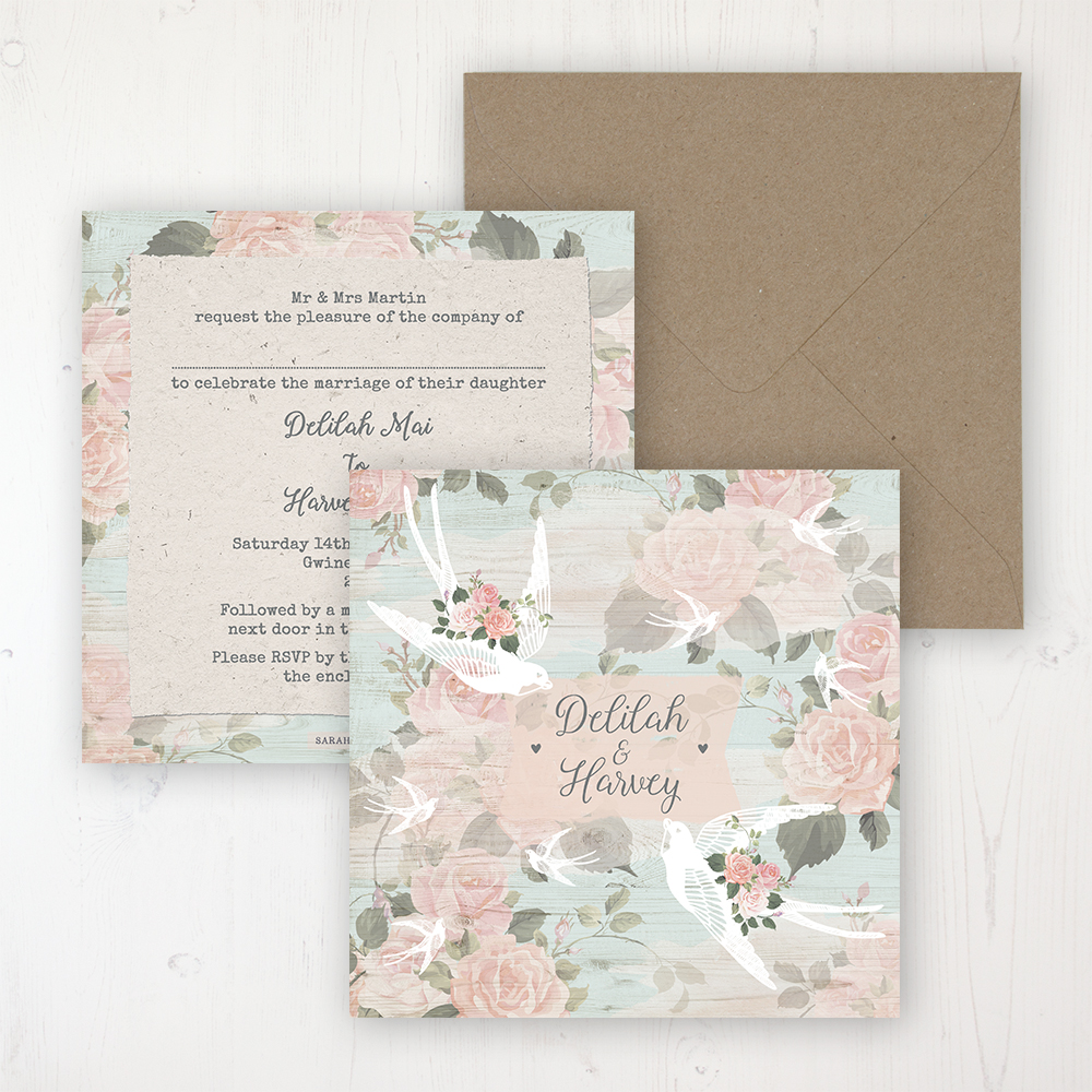 Dancing Swallows Wedding Invitation - Flat Personalised Front & Back with Rustic Envelope