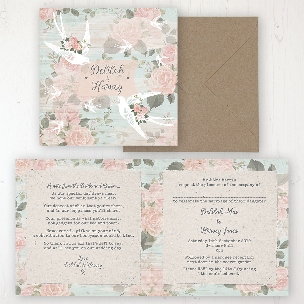 Dancing Swallows Wedding Invitation - Folded Personalised Front & Back with Rustic Envelope