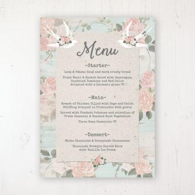 Dancing Swallows Wedding Menu Card Personalised to display on tables