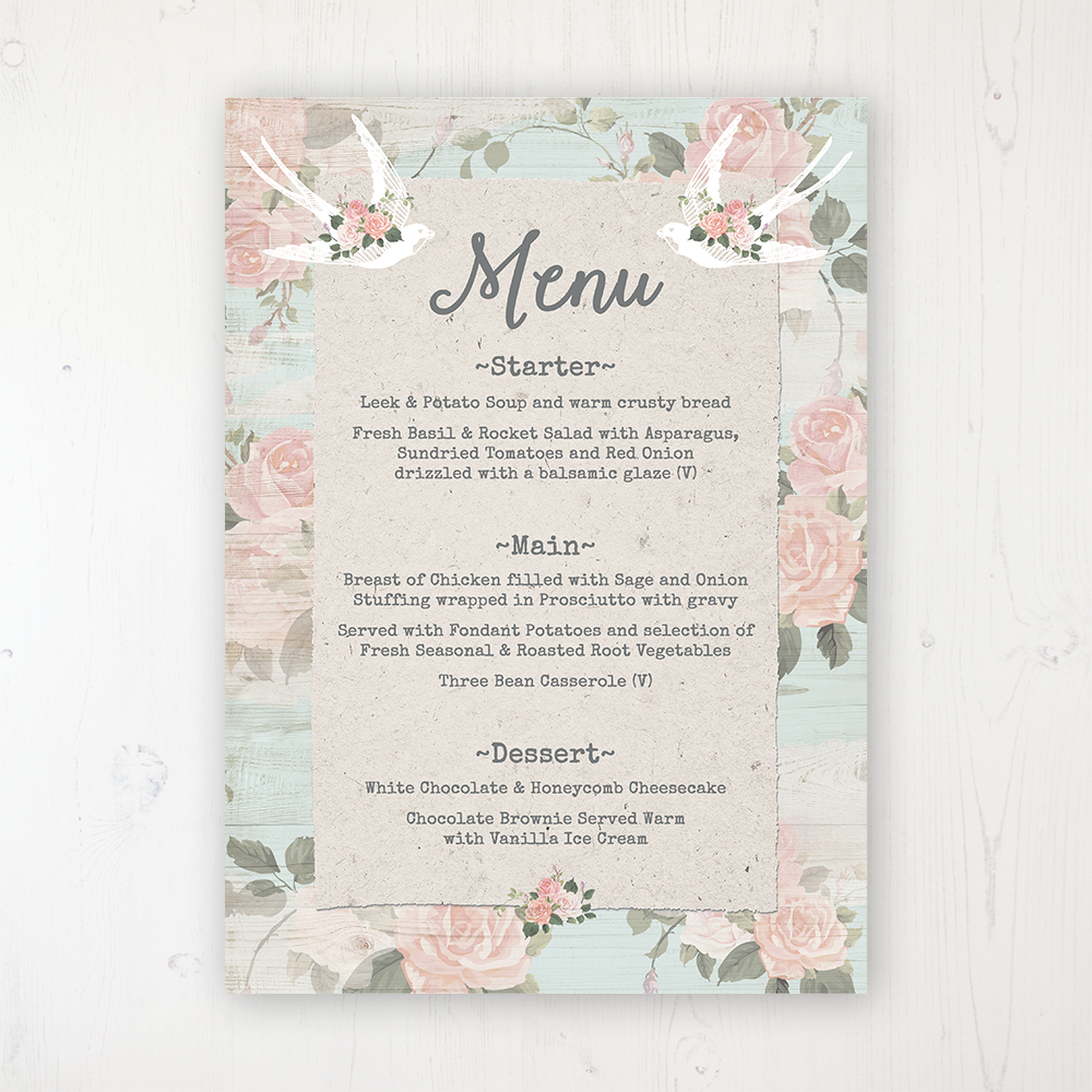 Dancing Swallows Wedding Menu Card Personalised To Display On Tables