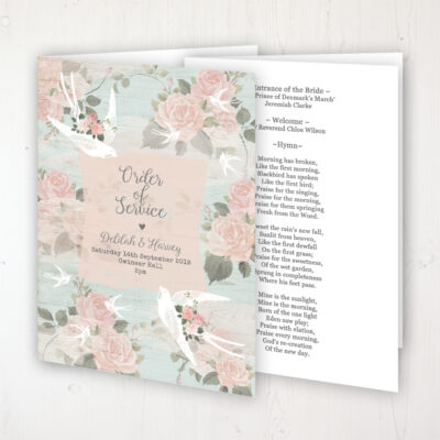 Dancing Swallows Wedding Order of Service - Booklet Personalised Front & Inside Pages