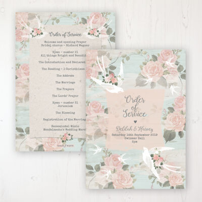 Dancing Swallows Wedding Order of Service - Card Personalised front and back