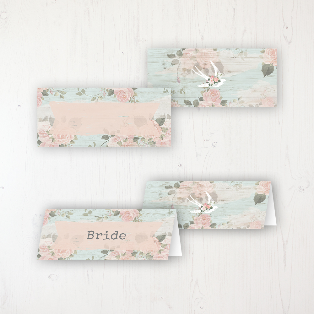 Dancing Swallows Wedding Place Name Cards Blank and Personalised with Flat or Folded Option