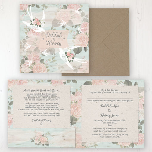 Dancing Swallows Wedding Invitation - Folded Personalised Front & Back with Pocket in inside cover. Includes Rustic Envelope